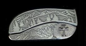 tree scene custom sterling silver cross belt buckle knife
