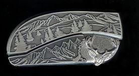 tree scene custom sterling silver deer belt buckle knife