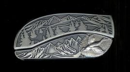 tree scen custom sterling silver duck belt buckle knife