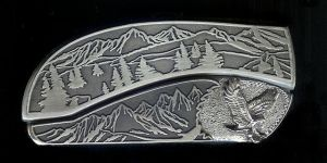 tree scene custom sterling silver eagle belt buckle knife