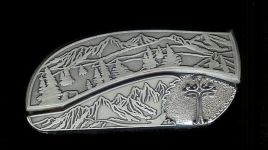 tree scene custom sterling silver ornate cross belt buckle knife