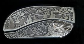 tree scene custom sterling silver wolf belt buckle knife
