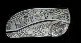 tree scene custom sterling silver wolf face belt buckle knife