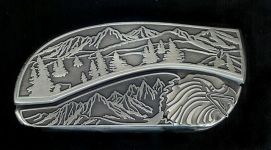 tree scene eagle belt buckle knife