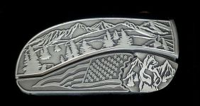 tree scene flag standing bear hidden belt buckle knife