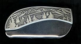 tree scene plain belt buckle knife