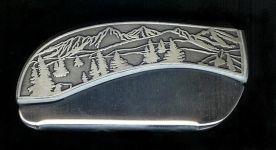 tree scene plain belt buckle knife