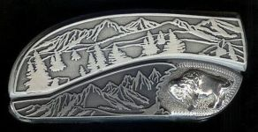 tree scene sterling silver buffalo belt buckle knife