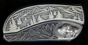 tree scene sterling silver buffalo belt buckle knife