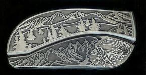 tree scene trout hidden belt buckle knife