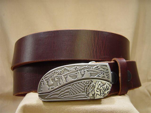 vintage chestnut leather belt with belt buckle knife