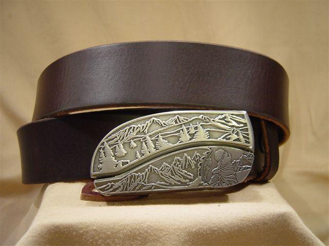 vintage dark brown leather belt with belt buckle knife