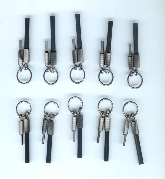 10 pack wholesale keyring fire starters and knife sharpeners